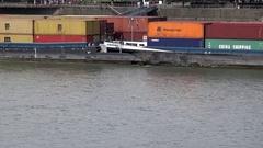 4K Timelapse naval traffic on river cargo ship sail in Koln induatrial transport Stock Footage