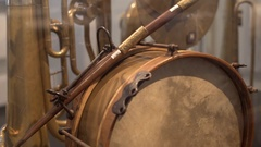 Old vintage unique bass drum, medium shot, shallow DOF Stock Footage