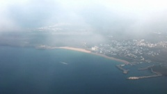 Aerial view of Penghu Island from a plane that is landing, Taiwan. Stock Footage