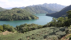A landscape of Jade Reservoir in Taipei. Major reservoirs supplying water. Stock Footage