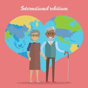 International Relations. Travel in Old Age Concept Stock Illustration