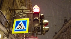 Close-up of traffic lights at night Stock Footage