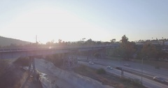 Dropping Away From The Arroyo Seco Bike Path As The Gold Line Passes By Stock Footage