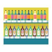 Shelves with Drinks in Grocery Store Vector Piirros