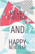 Happy new year and marry christmas card Stock Illustration