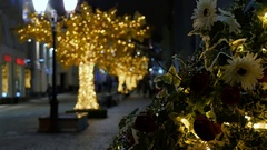 Abstract background, the streets are decorated for the holiday Stock Footage