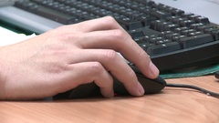 Hand of a man using a mouse on the computer. Taipei Water Department, Taiwan. Stock Footage