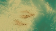 Zoom into Macdonnell mountain range - masks. Relief map Stock Footage