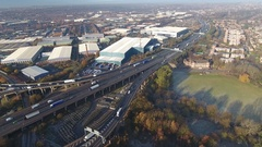 Aerial view of Industrial estates and Spaghetti Junction in Birmingham, UK. Stock Footage
