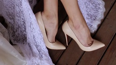 Woman Wedding Beige Shoes On The Wooden Floor Stock Footage
