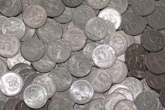 Russian coin five rubles in large quantities. on coins background Stock Photos