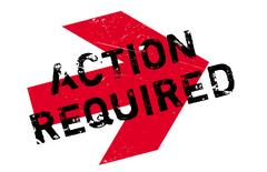 Action required stamp Stock Illustration