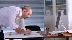 Engineer Designs the system of air-conditioning Stock Footage