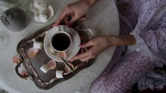 Bride Holds White Cup With Tea. Wedding Breakfast Stock Footage