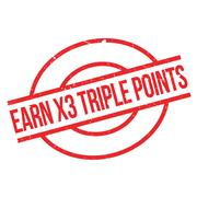 Earn X3 Triple Points rubber stamp Stock Illustration