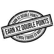 Earn X2 Double Points rubber stamp Stock Illustration