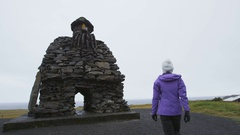 Iceland. Sculpture of Bardur on Snaefellsnes peninsula in West Iceland Stock Footage