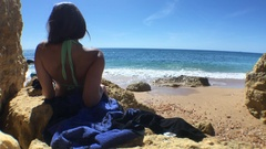 Summertime Beach Vacations, Girl Relaxing On Paradisiac Beach Stock Footage