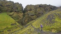 Iceland Raudfeldsgja Canyon gorge rift nature landscape, Snaefellsnes peninsula Stock Footage
