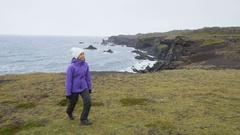 Iceland tourist on travel walking and hiking on Arnarstapi Snaefellsnes Stock Footage