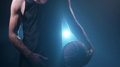 Headless player exercising with a ball Stock Footage