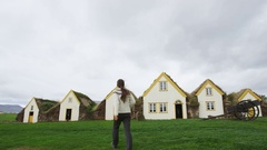 Old Farmhouse Laufas Glaumbaer farm Folk Museum turf roof houses in Iceland Stock Footage