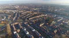 Panning aerial view of Aston, Birmingham. Stock Footage