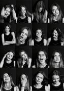 Collage with different types of human emotion. The diversity  their Stock Photos