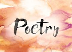 Poetry Colorful Watercolor and Ink Word Art Stock Illustration