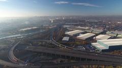 Aerial view of Spaghetti Junction in Birmingham, UK. Stock Footage