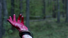 Waving bloody hand Stock Footage