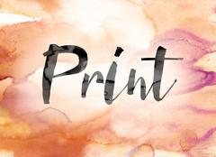 Print Colorful Watercolor and Ink Word Art Stock Illustration