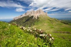The formation and movement of clouds over the summer slopes of Adygea Bolsh.. Stock Photos