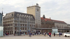 Kroch-Hochhaus clock tower building, Leipzig, Germany Stock Footage