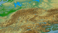 Revolution around Mackenzie mountain range - masks. Colored physical map Stock Footage