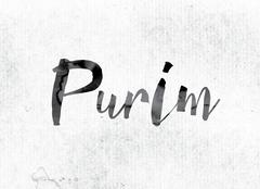 Purim Concept Painted in Ink Stock Illustration