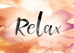 Relax Colorful Watercolor and Ink Word Art Stock Illustration