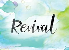 Revival Colorful Watercolor and Ink Word Art Stock Illustration
