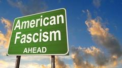 American Fascism ahead road warning sign. Stock Footage