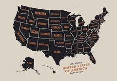Vintage map of United States of America Stock Illustration