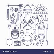 Set line icons camping tourism. Stock Illustration