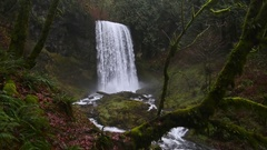Pacific Northwest waterfall in fall, with audio. Upper Bridal Veil Falls in the  Stock Footage