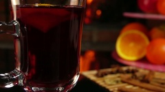 Mulled wine and fruits Stock Footage