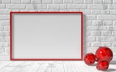 Mock-up red canvas frame, red Christmas sleigh bells and brick wall. 3D Piirros