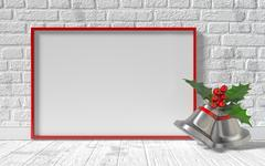 Mock-up red canvas frame, Christmas bells and brick wall. 3D Piirros