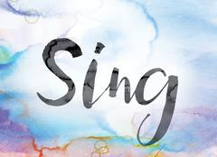 Sing Colorful Watercolor and Ink Word Art Stock Illustration