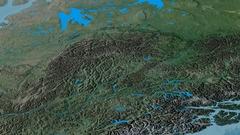 Revolution around Mackenzie mountain range - masks. Topographic map Stock Footage
