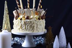 Happy New Year white chocolate cake Stock Photos