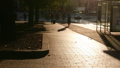 Bicyclist ride at empty sidewalk track, sunlit at early morning time Stock Footage
