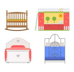 Vector bed icon set Stock Illustration